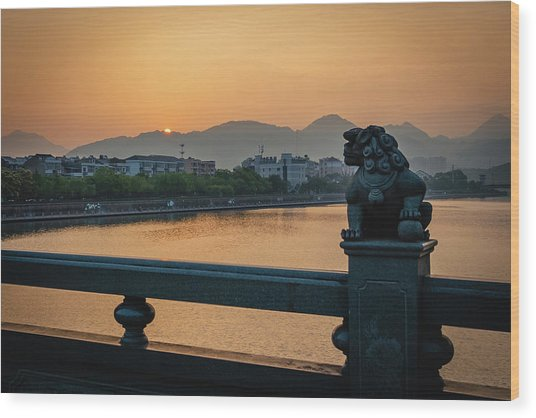 Wood Print featuring the photograph Sunrise In Longquan Seen From Gargoyle Bridge by William Dickman