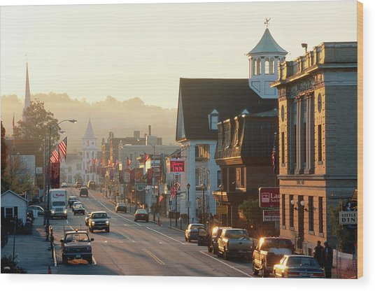 Sunrise On Main Street, Littleon, New Wood Print