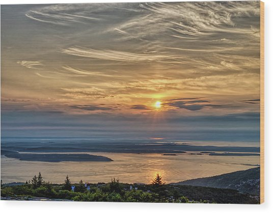 Sunrise On Mt. Cadillac Wood Print by Zev Steinhardt