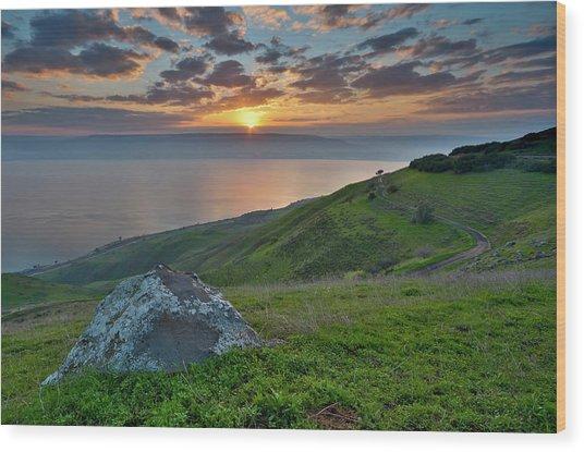 Sunrise On Sea Of Galilee Wood Print