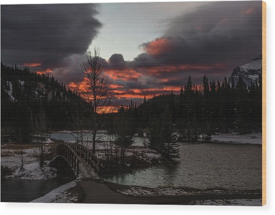 Sunrise Over Cascade Ponds, Banff National Park, Alberta, Canada Wood Print