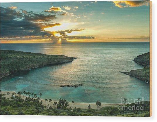 Sunrise Over Hanauma Bay On Oahu, Hawaii Wood Print