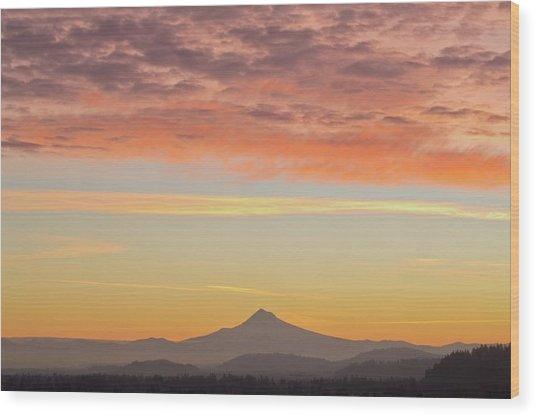 Sunrise Over Mount Hood From Mount Tabor Wood Print by Design Pics / Dan Sherwood