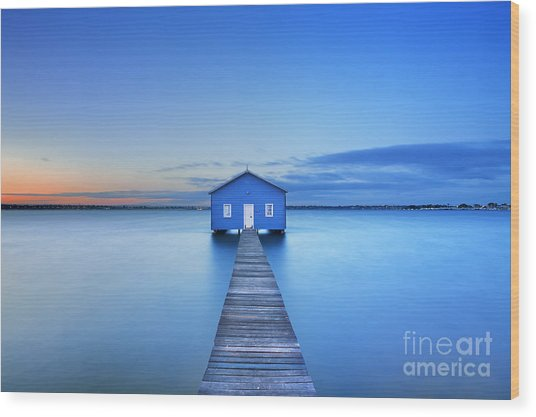 Sunrise Over The Matilda Bay Boathouse Wood Print