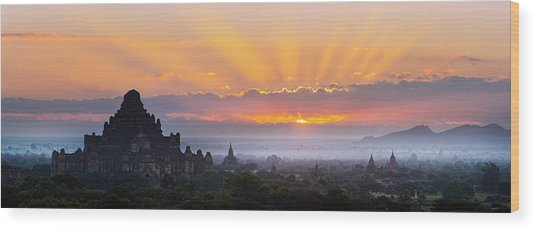 Sunrise Over The Temples Of Bagan Wood Print by Jon Hicks