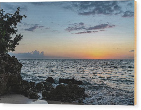 Sunset Afterglow In Negril Jamaica Wood Print