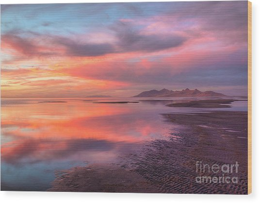 Wood Print featuring the photograph Sunset And Antelope Island by Spencer Baugh