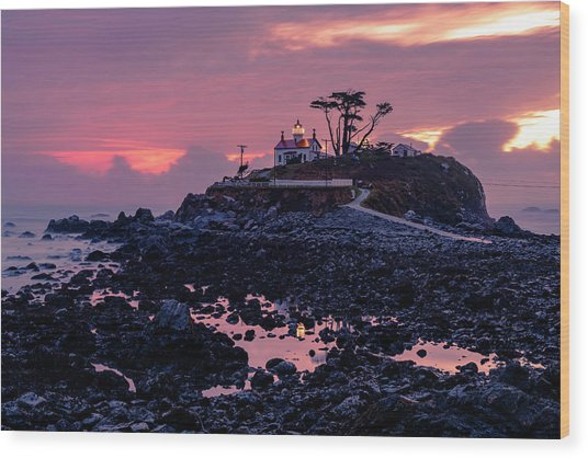 Sunset And Low Tide At Battery Point Wood Print