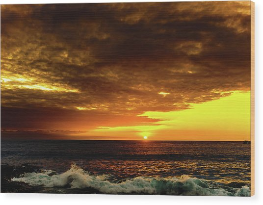 Sunset And Surf Wood Print