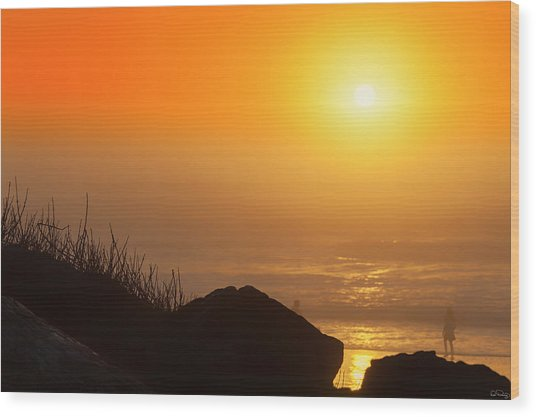 Sunset At Beverly Beach On The Oregon Coast Wood Print