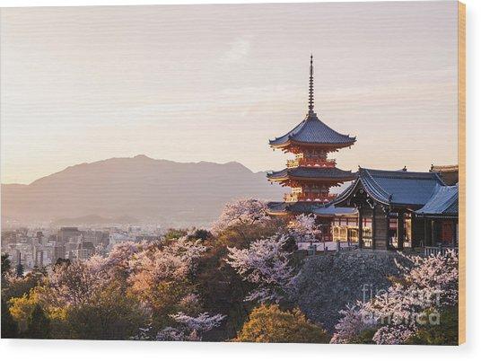 Sunset At Kiyomizu-dera Temple And Wood Print