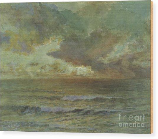 Sunset At Seascale Wood Print