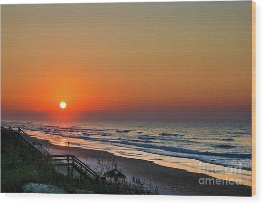 Sunset At Surf City Nc Wood Print
