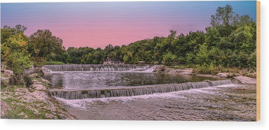 Sunset At The Falls Wood Print
