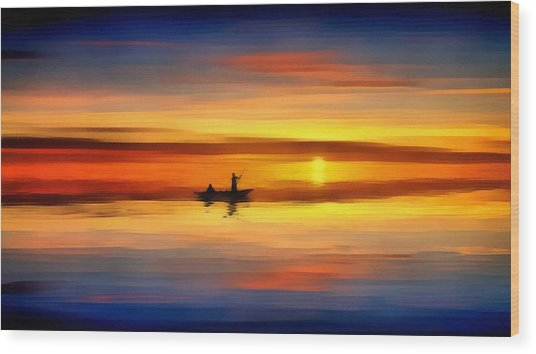 Sunset Fishing Wood Print