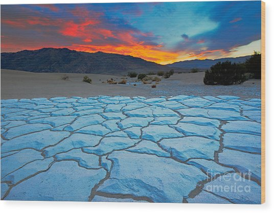 Sunset From Mesquite Flat Sand Dunes Wood Print