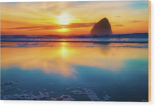 Sunset Haystack Rock Wood Print