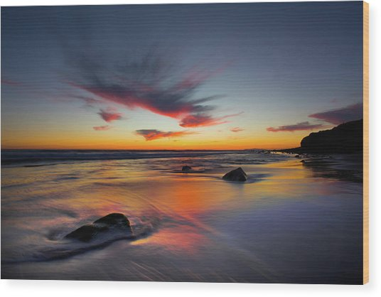 Sunset In Malibu Wood Print