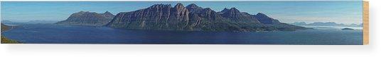 Sunset In Norway In Lofoten Island Wood Print