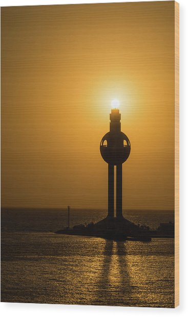 Wood Print featuring the photograph Sunset In Port Jeddah, Saudi Arabia by William Dickman