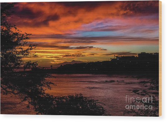 Sunset In Praia, Cape Verde Wood Print