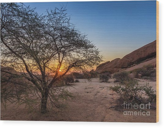 Sunset In Spitzkoppe, Namibia Wood Print