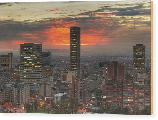 Sunset In The City, Hdr Wood Print by Tobntno