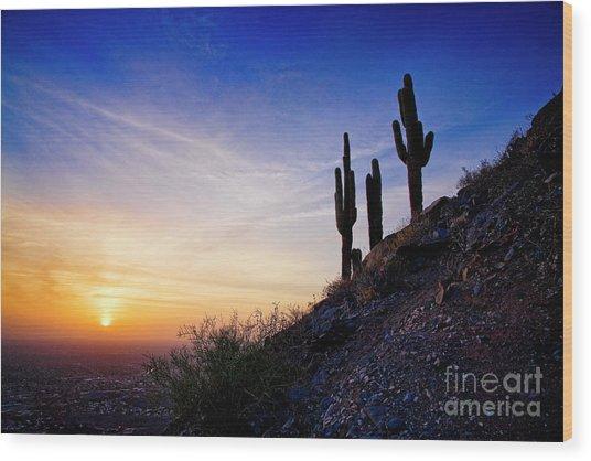 Sunset In The Desert Wood Print
