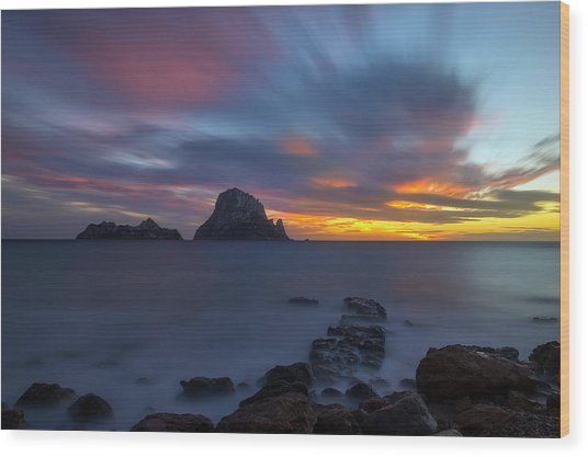 Sunset In The Mediterranean Sea With The Island Of Es Vedra Wood Print