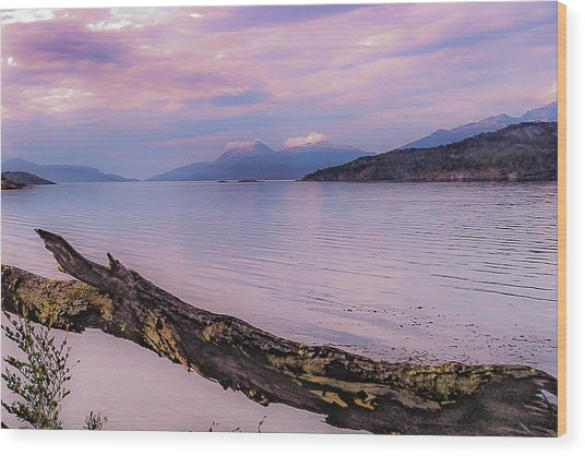 Sunset In Ushuaia Wood Print