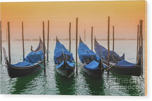 Sunset In Venice Wood Print