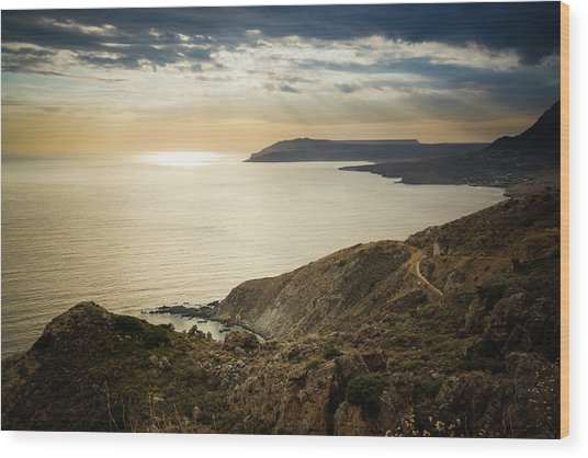 Sunset Near Tainaron Cape Wood Print