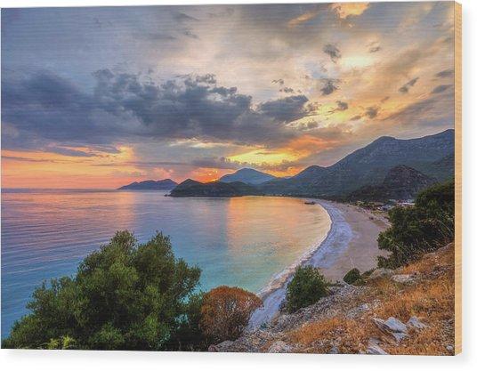 Sunset Of Oludeniz, Fethiye Wood Print by Nejdetduzen
