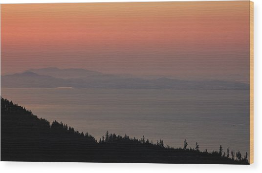 Sunset Of The Olympic Mountains Wood Print