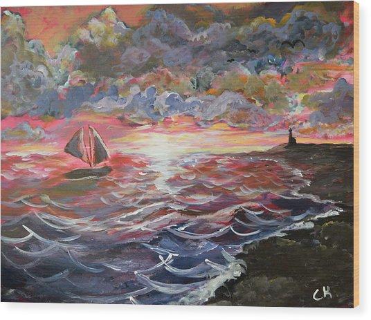 Sunset Of The Sea Wood Print
