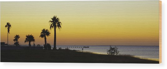 Sunset On Copano Bay, Texas Wood Print