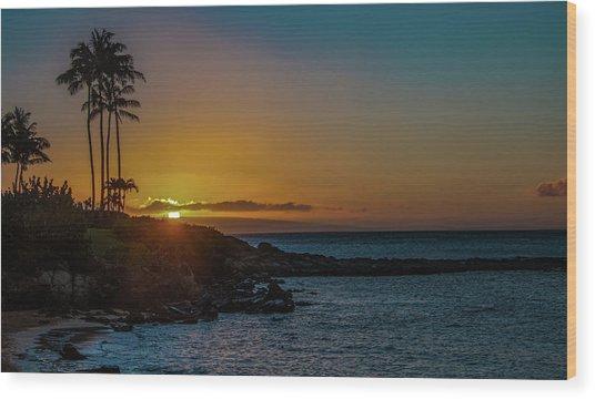 Sunset On Kapalua Wood Print