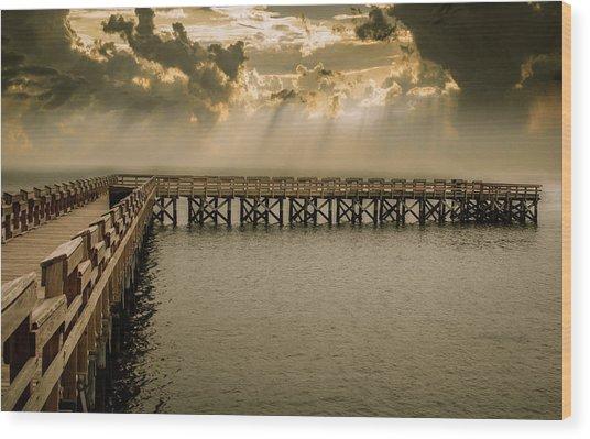 Sunset On Pier Wood Print