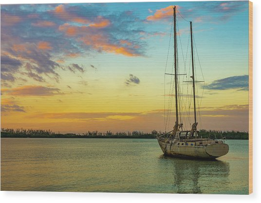 Sunset On The Lagoon Wood Print