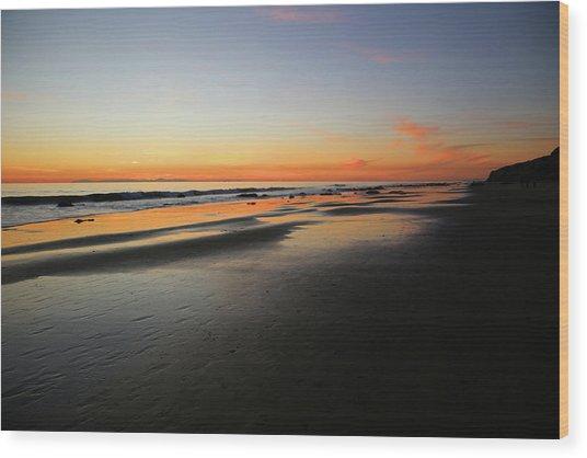 Sunset Over Avalon Wood Print by Robin Street-Morris