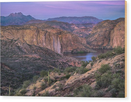 Sunset Over Canyon Lake And Four Peaks Wood Print by Dave Dilli