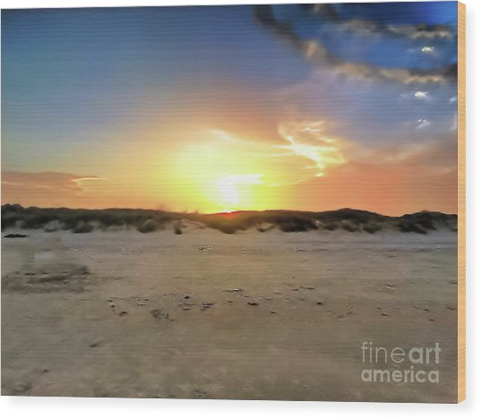 Sunset Over N Padre Island Beach Wood Print