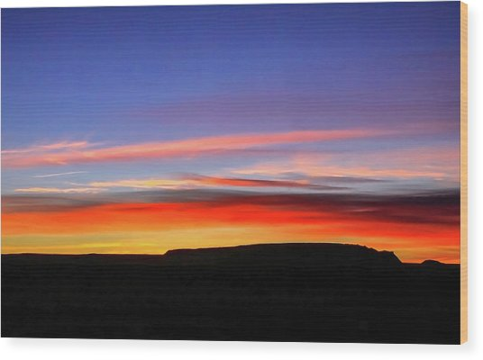 Sunset Over Navajo Lands Wood Print