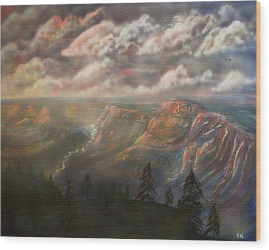 Sunset Over The Grand Canyon At Desert View Point Wood Print