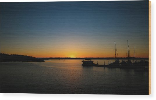 Sunset Over The Potomac Wood Print