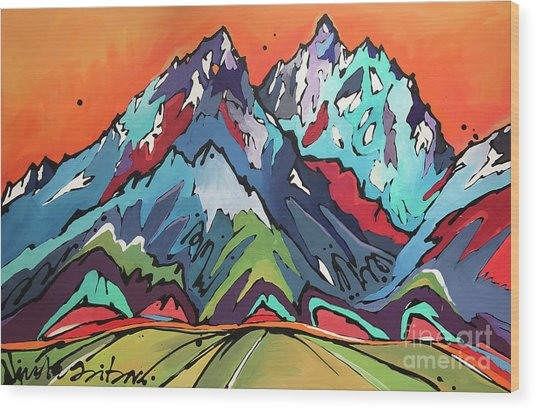 Sunset Over The Tetons Wood Print