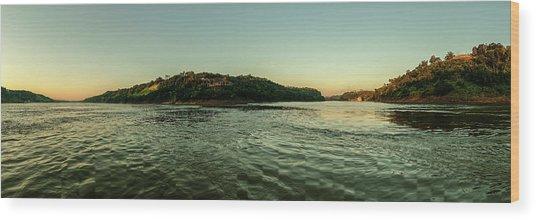 Sunset River Confluence Wood Print