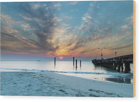 Sunset Seascape And Beautiful Clouds Wood Print