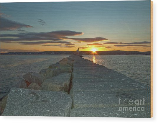Sunset Seawall Wood Print