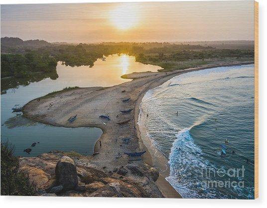 Sunset Seen From Elephant Rock Near Wood Print
